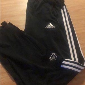 Men's adidas athletic pants black white xl